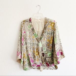 Anthropologie Tops - NWOT Anthro Floreat Japonica Floral Wrap Blouse M